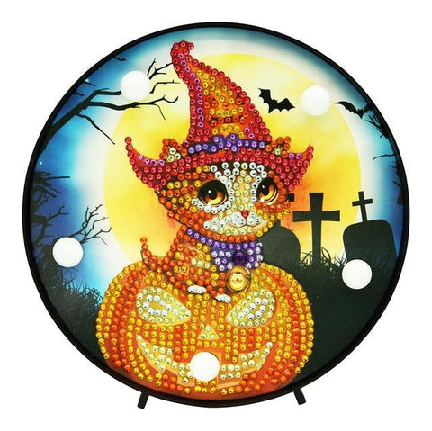 Pumpkin and Witch Cat - DIY Diamond Painting LED Lamp