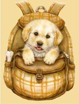 Image of Puppy in a Brown Bag - DIY Diamond Painting