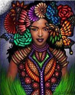 Image of African Girl and a Butterfly - DIY Diamond Painting