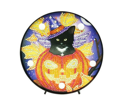Halloween Pumpkin and Cat - DIY Diamond Painting LED Lamp