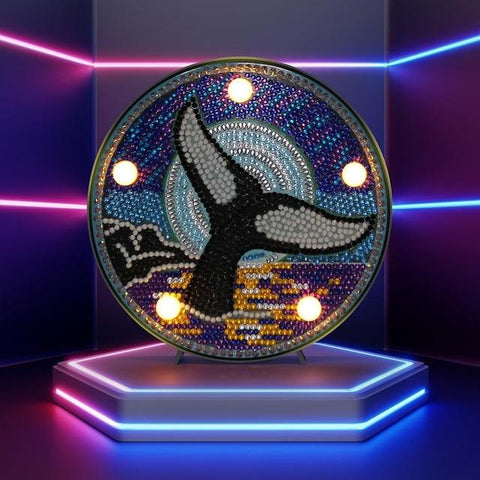 Image of Dolphin's Tale - DIY Diamond Painting LED Lamp