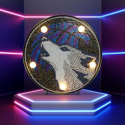 Image of Howling Wolf - DIY Diamond Painting LED Lamp