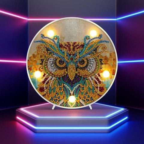 Image of Fierce Owl - DIY Diamond Painting LED Lamp