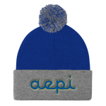 Alpha Epsilon Pi Embroidered Cursive Pom Pom Beanie