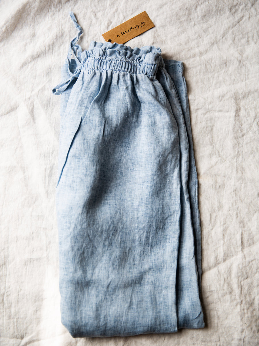 Linen Wide Leg Pants - Sky Blue
