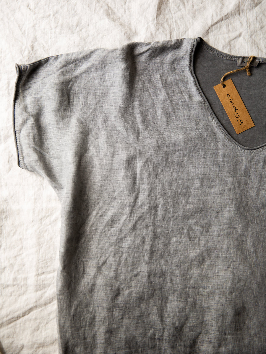 Cotton & Linen V-Neck Top - Dark Grey