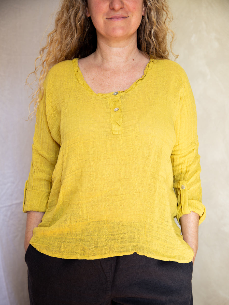 Frederic Woven Linen & Cotton Slouchy Top - Chartreuse