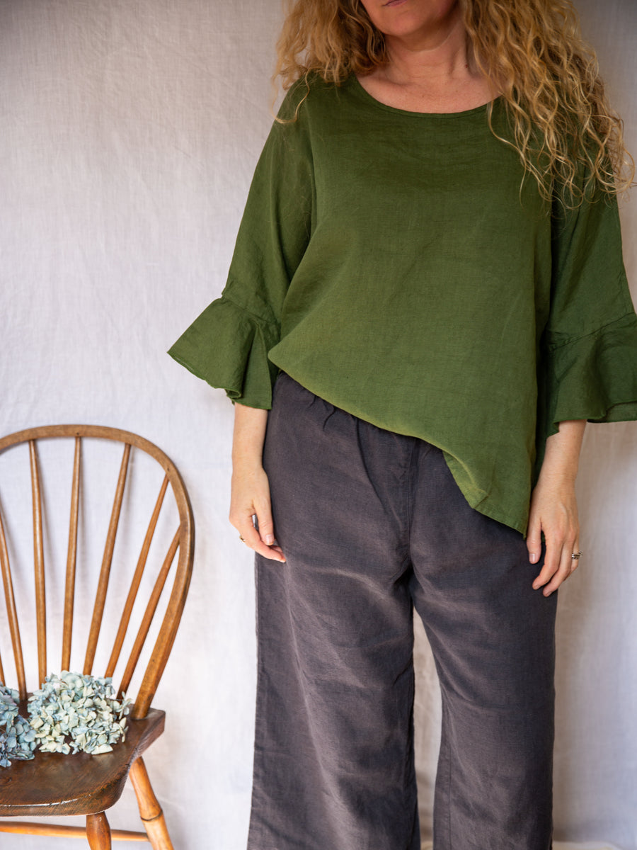 Montaigne Frill Sleeve Top - Forest Green