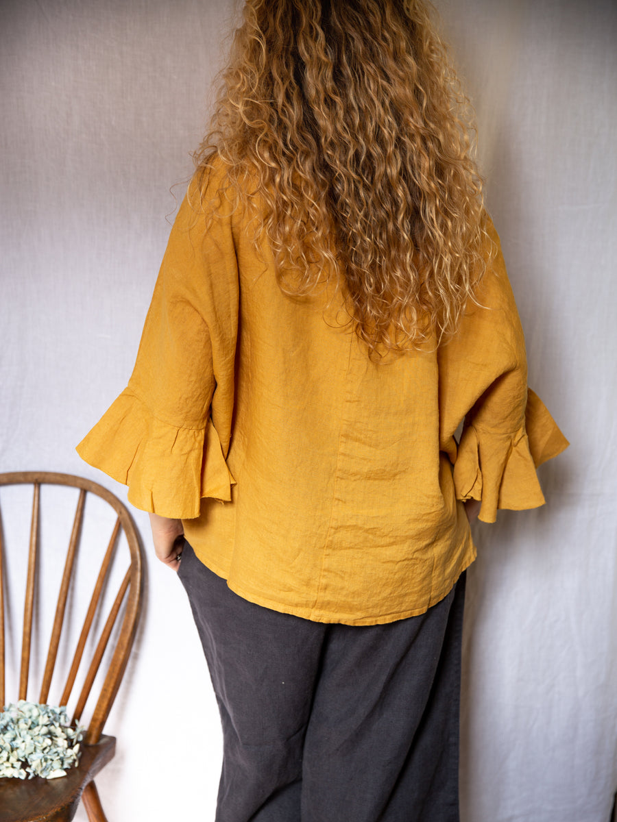 Montaigne Frill Sleeve Top - Mustard
