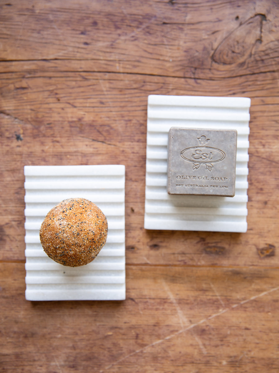 Slotted White Marble Soap Dish