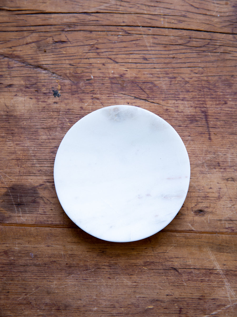 Round White Marble Soap DIsh