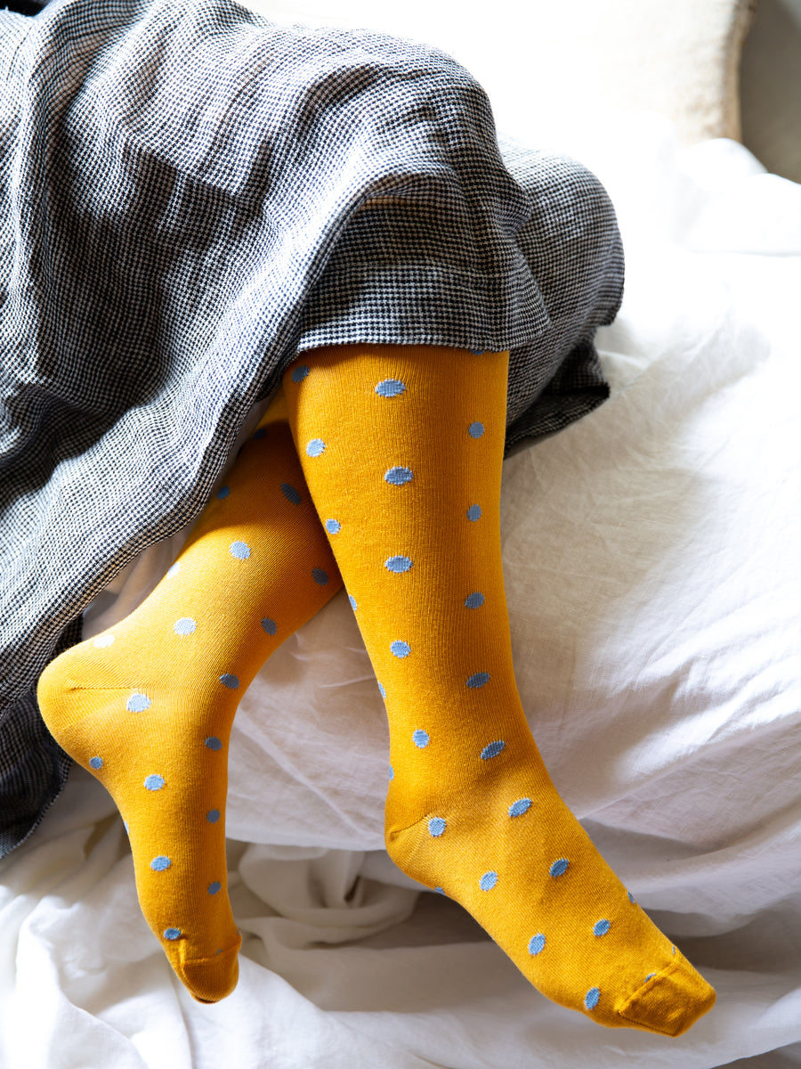 Tightology Long Dotty Socks- Yellow & Blue