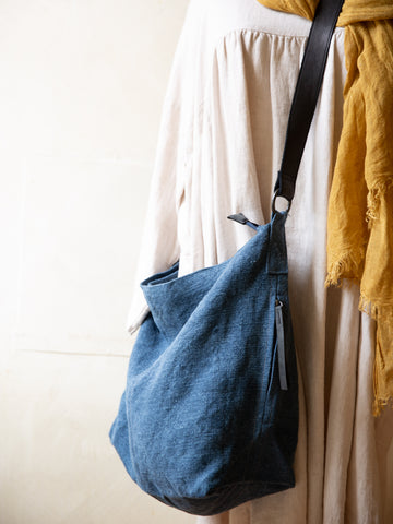 Slouchy Jute Bag- Navy
