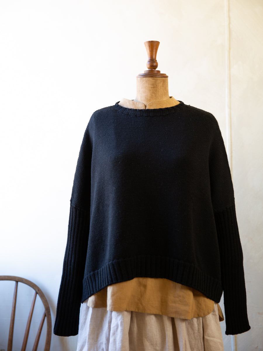 Merino Wool Rib Sleeve Jumper