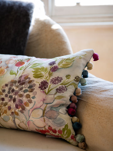 Scottish Linen & Velvet Cushion- Hedgerow