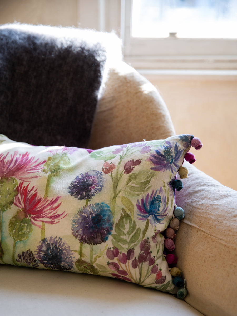 Scottish Linen & Velvet Cushion- Thistle