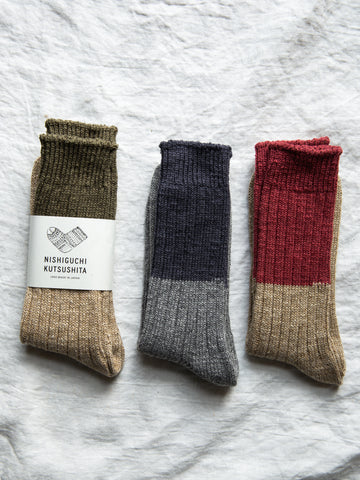 Japanese Boston Wool Cotton Slab Socks