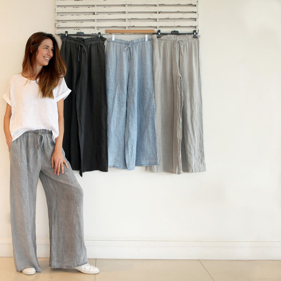 Linen Wide Leg Pants - Washed Grey
