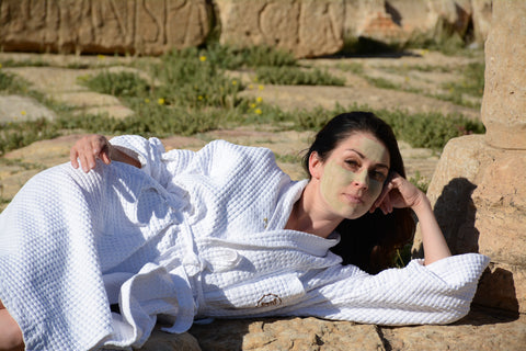 having a spa day in Sbeitla Tunisia with Katari Argil green clay masque