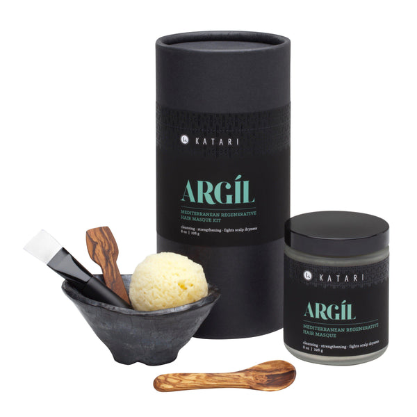 scalp detox & hair growth restoring green clay masque kit with handmade mixing & application tools - Argil - Katari Beauty