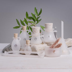 8pc handblown apothecary frosted glass set for DIY beauty recipes - Enver