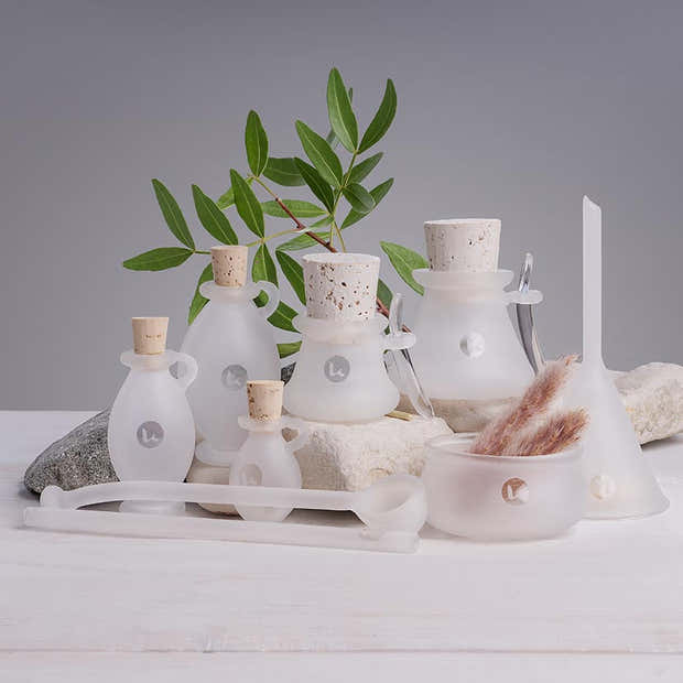 8pc handblown apothecary frosted glass set for DIY beauty recipes - Enver 1