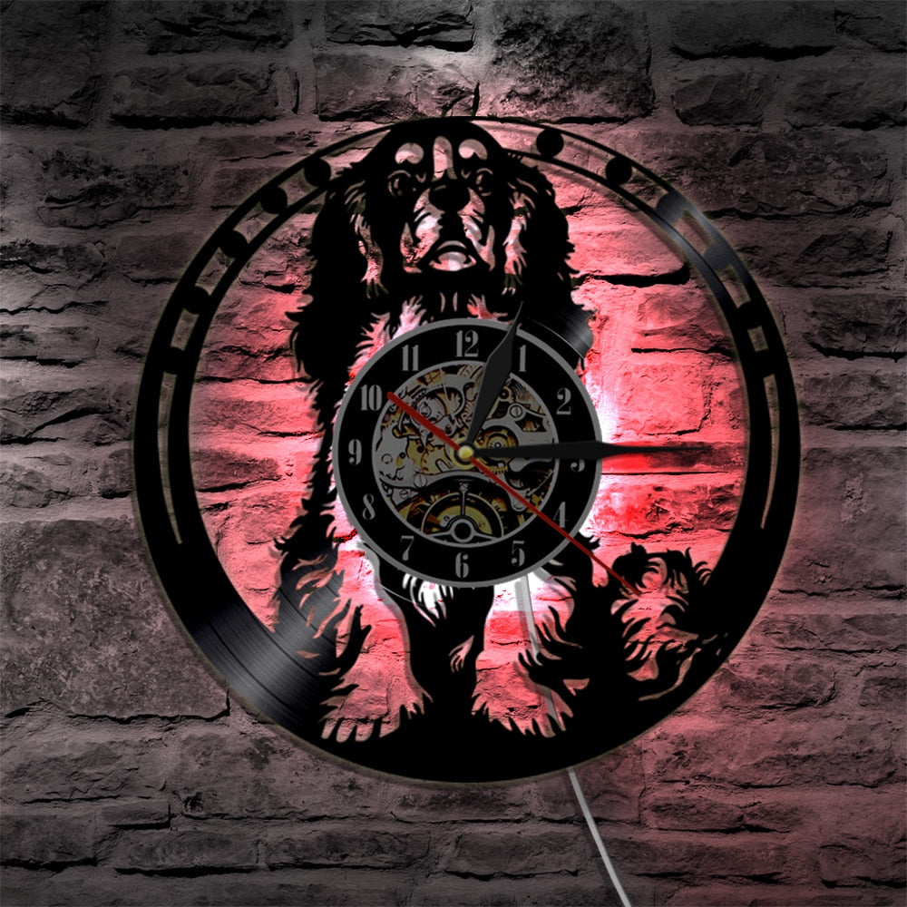 king Charles Spaniel Dog  Wall Clock With LED