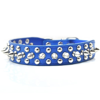 Leather Studded Spikes  Small  Dog  Collar BullDog Necklace