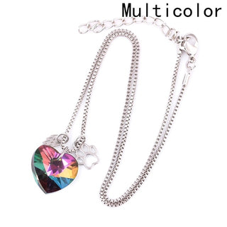 Rainbow Color Fallen Angel Dog Crystal  Necklaces