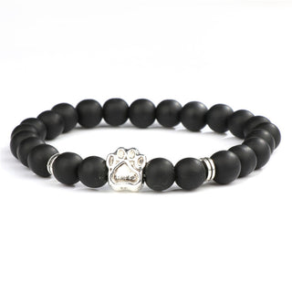 Natural Stone Mala Bead Yoga Paw Print Dog Bracelet