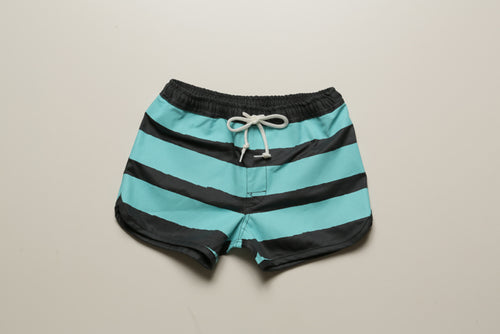 BLUER HYBRID SHORTS STRIPES (GRY×TRQ) / KIDS