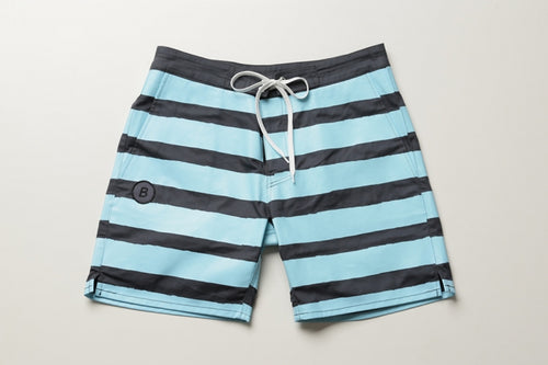 BLUER HYBRID SHORTS  STRIPES (GRY×TURQ) / UNISEX
