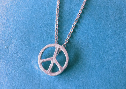 BLUER JEWELRY BIG icon necklace PEACE MARK  958 Britannia SILVER