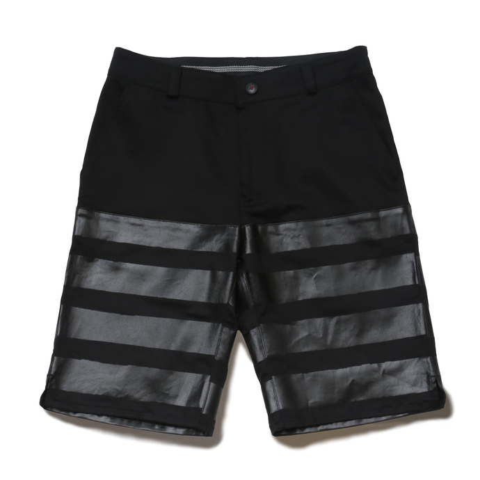 HALF-STRETCH SHORTS -光- (BLK×BLK)