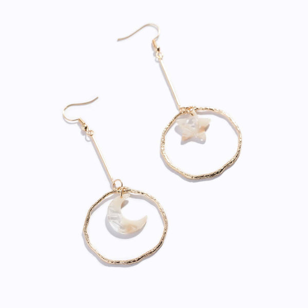 Star & Moon Hoop Drop Earrings