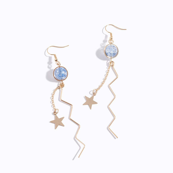 Color Marble Star Drop Earrings