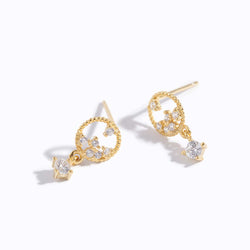 Clear CZ Chrome & Charm Drop Earrings