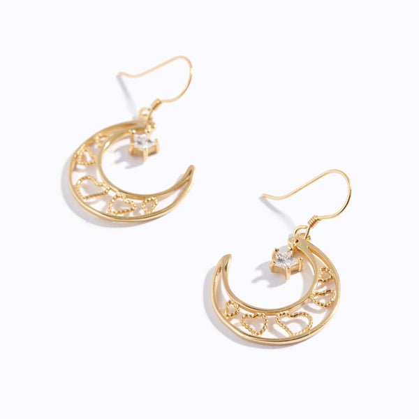 Moon Drop Star Charm Earrings