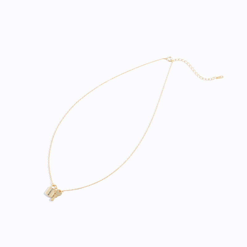 Gold-tone Lock & Key Charm Necklace