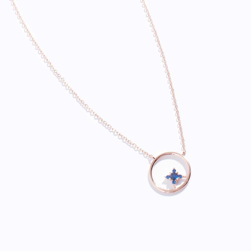 Aqua Blue Clear CZ & Chrome Charm Necklace
