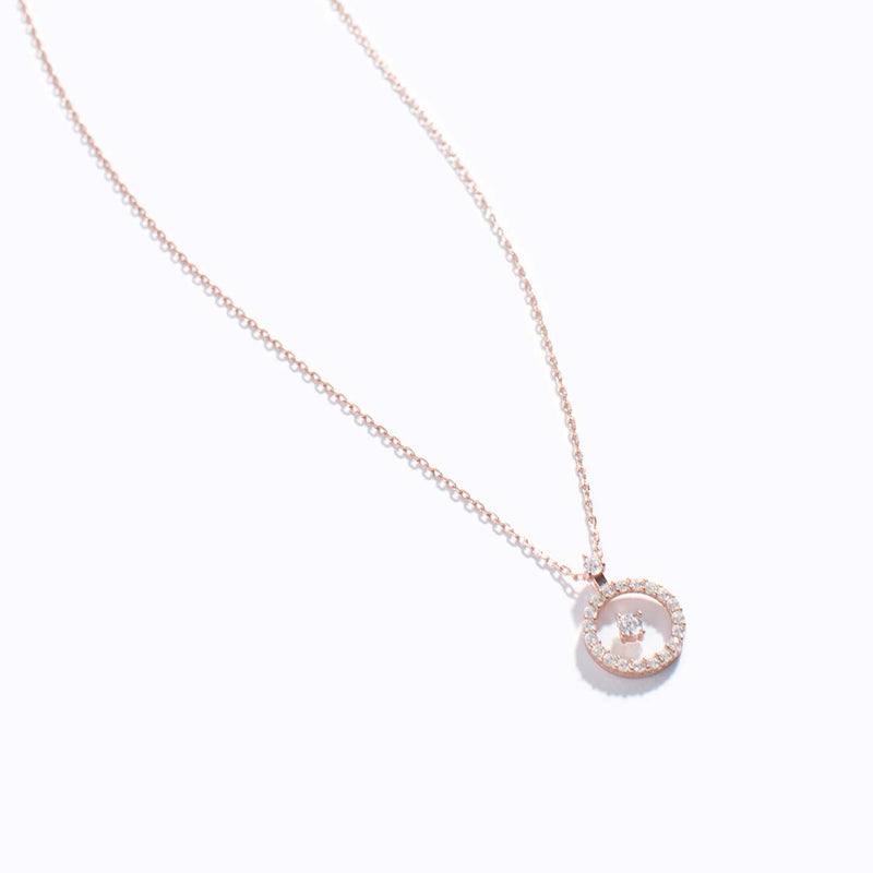 Clear CZ Chrome Charm Necklace