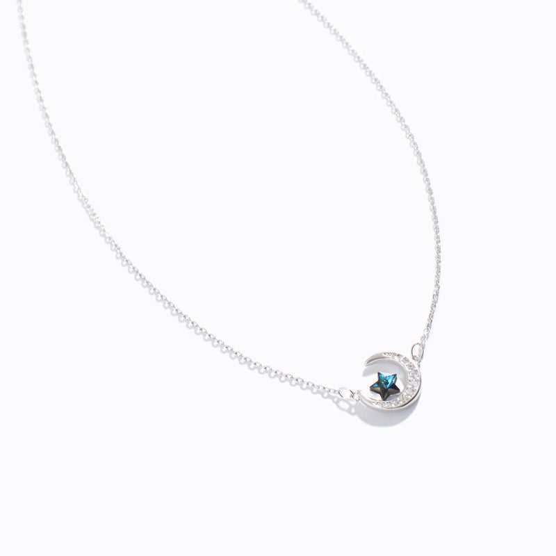 Clear CZ Moon & Water Blue Star Charm Necklace