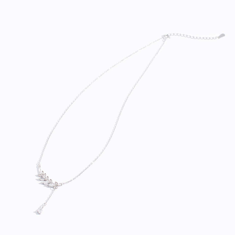 Clear CZ Leaf Charm Water Drop Necklace