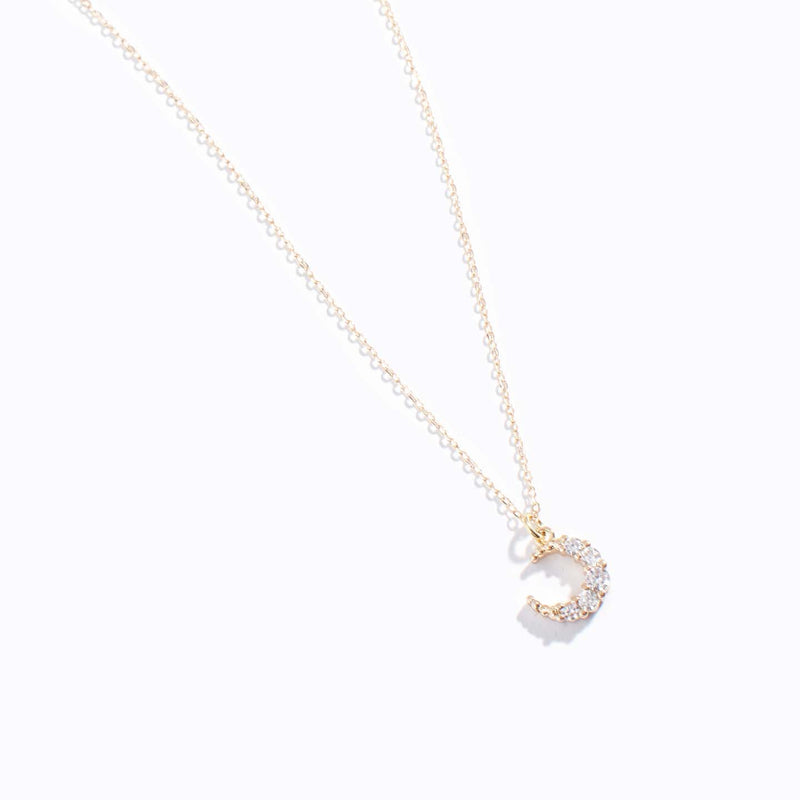 Clear CZ Moon Charm Necklace
