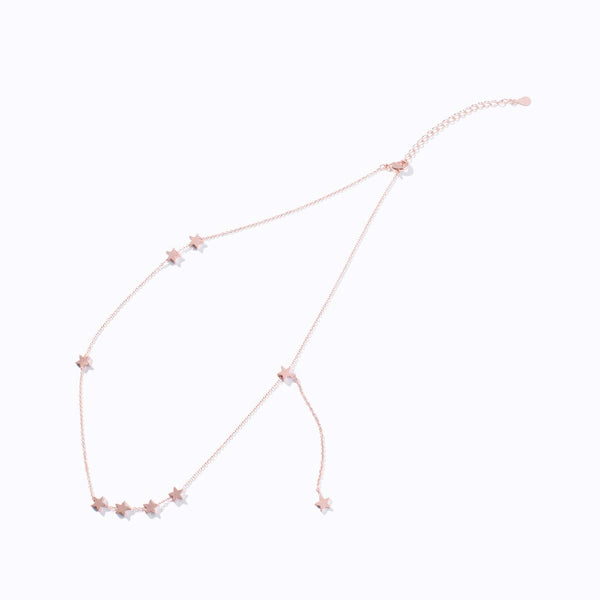 Rose Gold Star Charm Drop Necklace