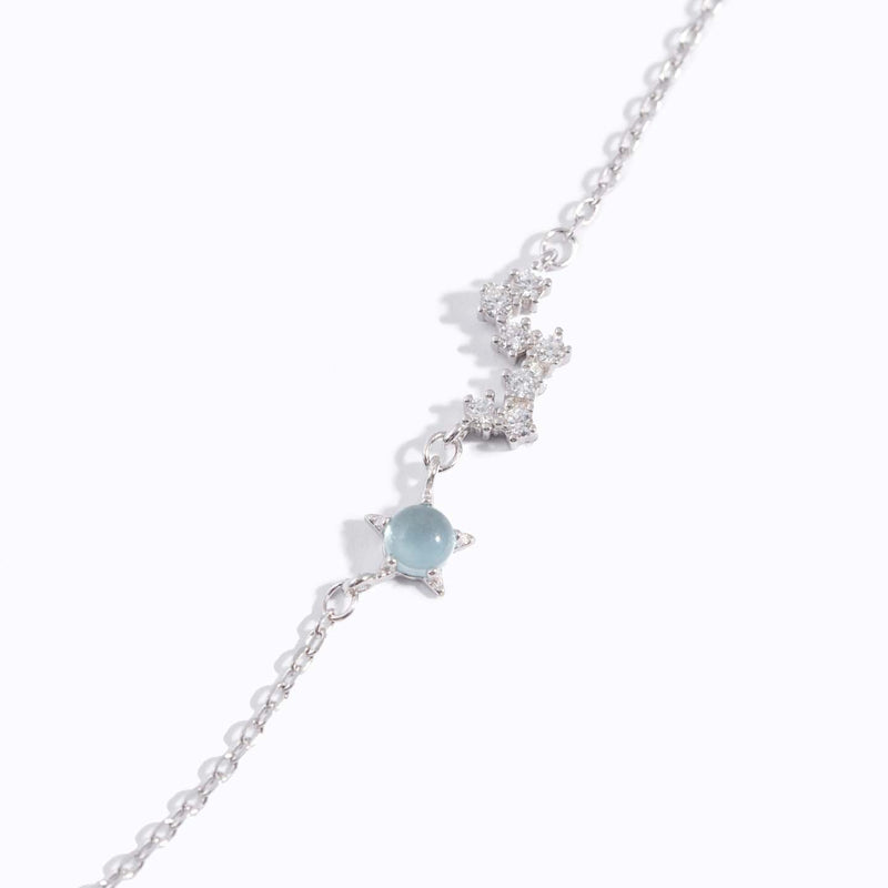 Clear CZ the Plough & Aqua Blue Stone Charm Bracelet