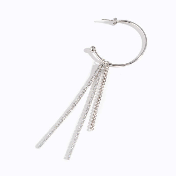 Clear CZ Tassels Hoop Earrings