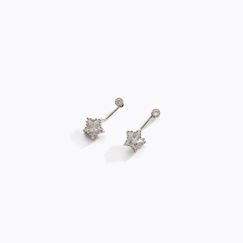 Clear CZ Star Drop Earrings