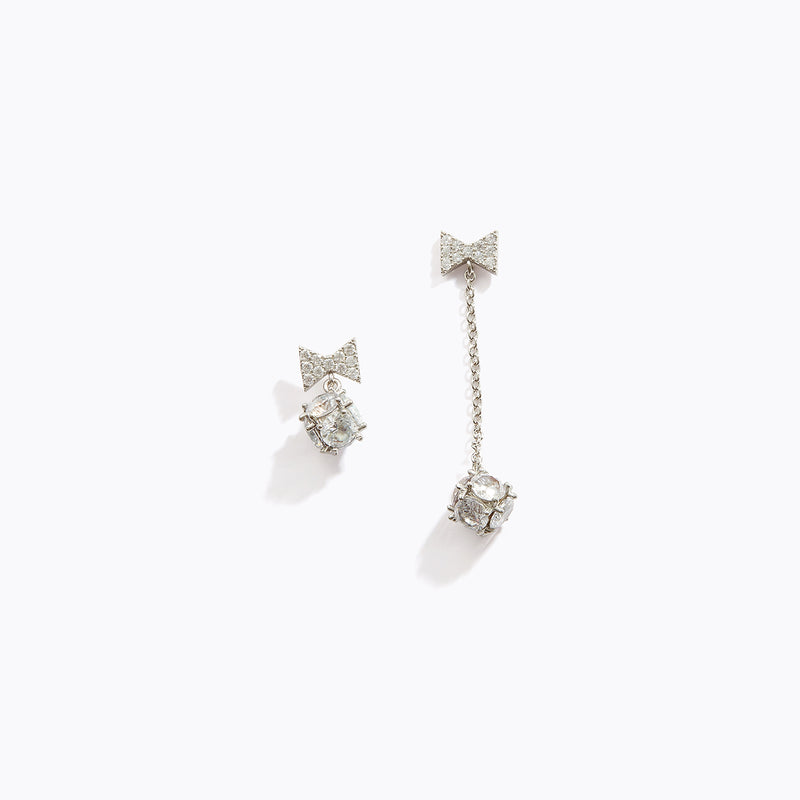 Long CZ Bow Earrings