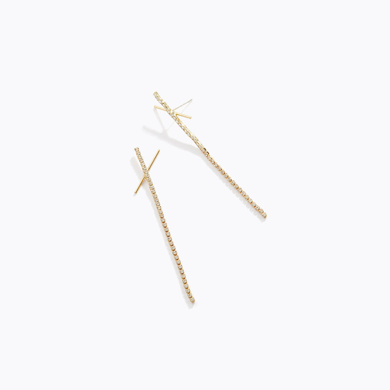 Long Cross Drop Earrings